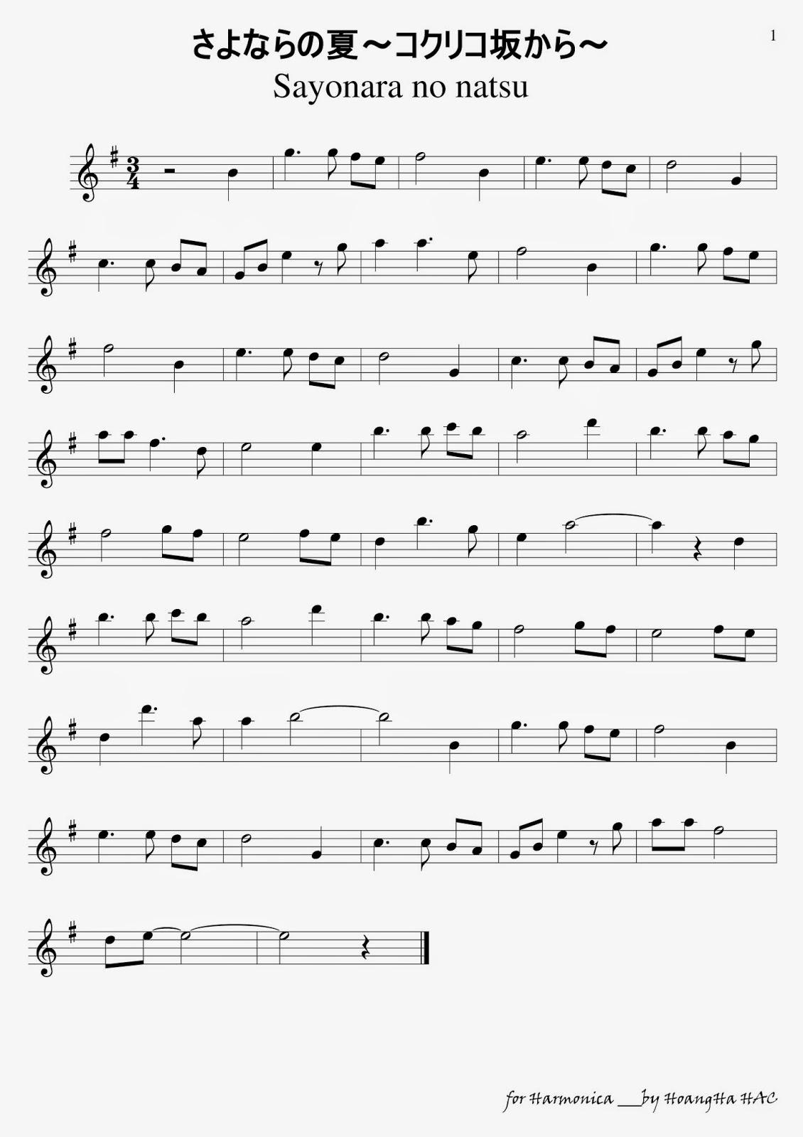 Harmonica Tabs - Sayonara no natsu (Tạm biệt mùa Hạ)