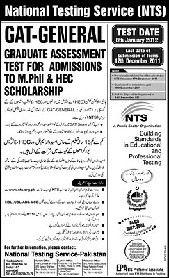 NTS GAT-General Graduate Assessment Test For Admissions