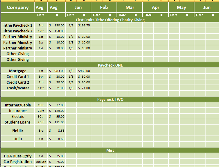 yearly and monthly bill payment tracker sheet