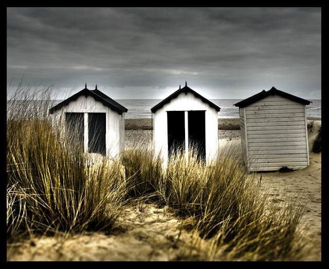 Beach Huts - Beach Grass - Englsih Coast - Photograph by Tim Irving