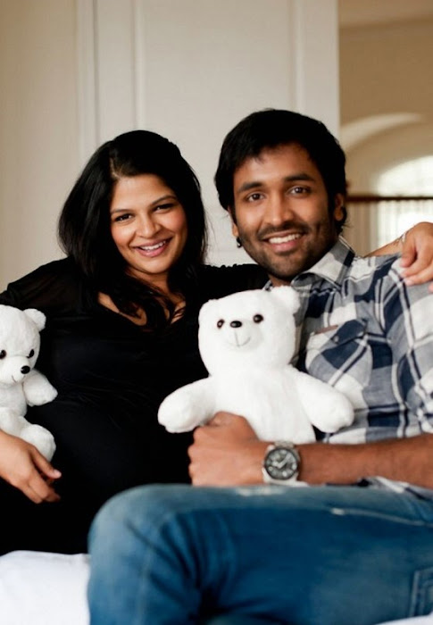 Manchu Vishnu With His Pregnant Wife Veronica wallpapers
