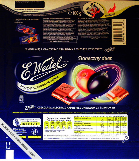 Chocolate wrappers collection - Wedel - apple & plum