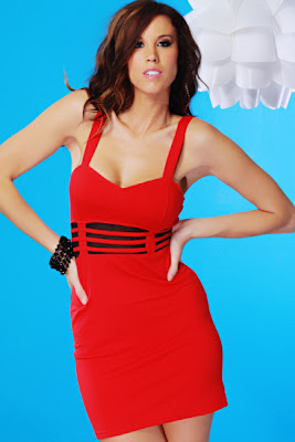 RED MESH STRAPPY EMPIRE WAIST SEXY MINI DRESS