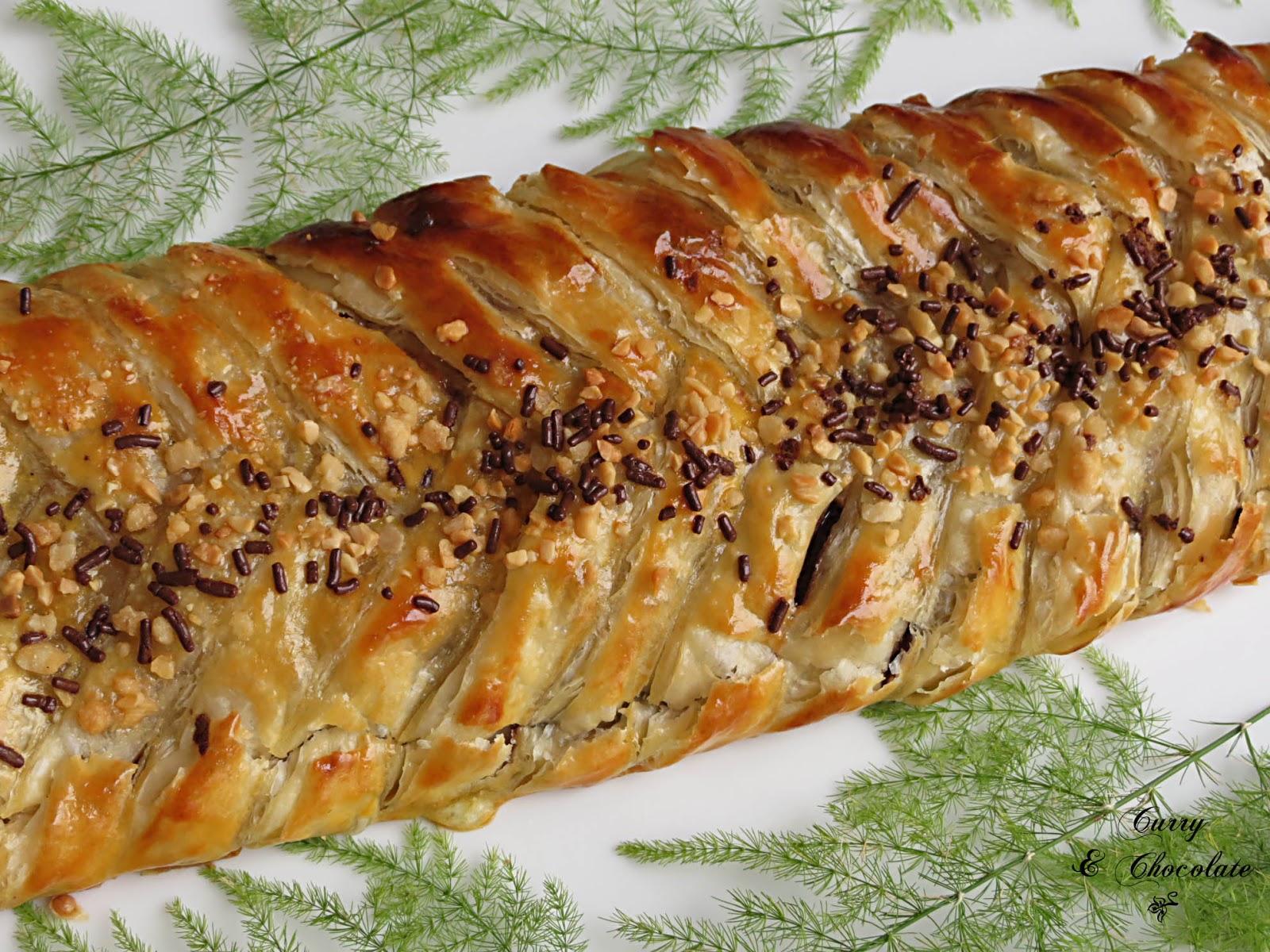 Trenza de Nutella y plátano – Nutella banana puff pastry braid