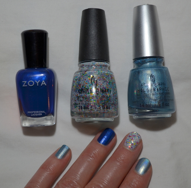 Hues of blue nail polish