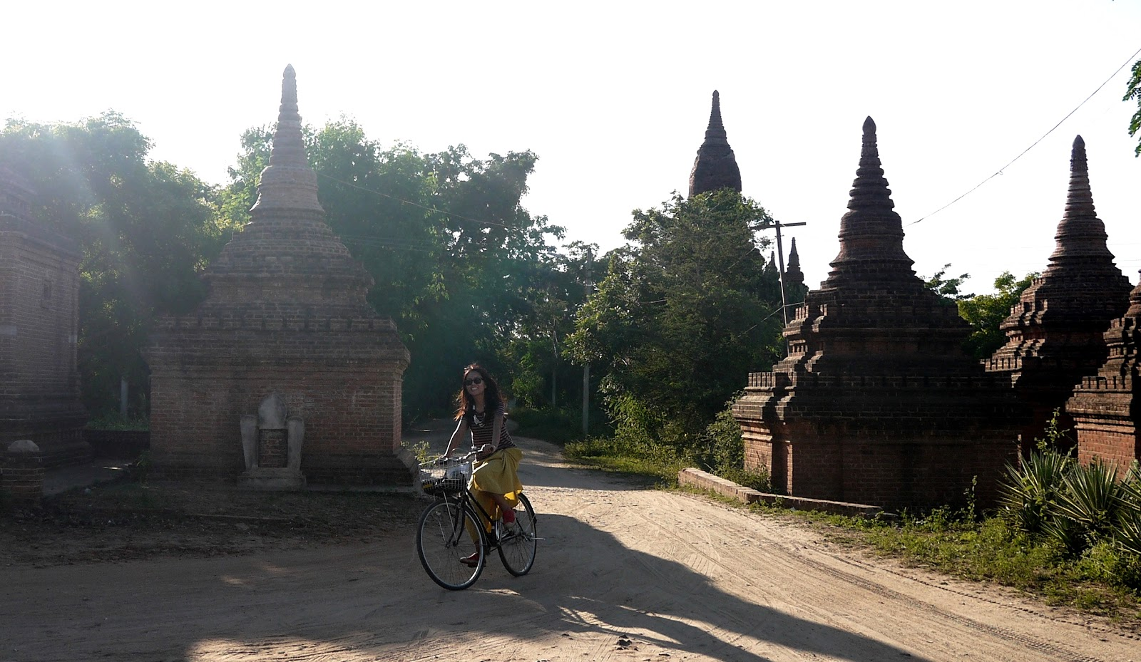 Cycling around temples in Bagan