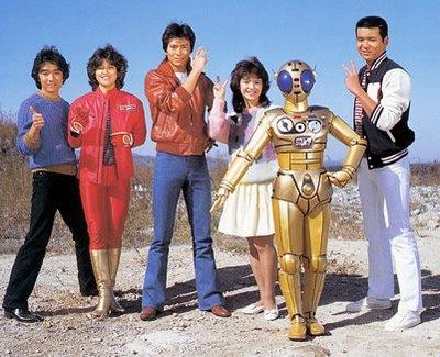 Bioman Team in Human Form Shiro Go - Red One, Shingo Takasugi - Green Two, Ryuta Nanbara - Blue Three, Mika Koizumi - Yellow Four, and Hikaru Katsuragi - Pink Five, and Peebo