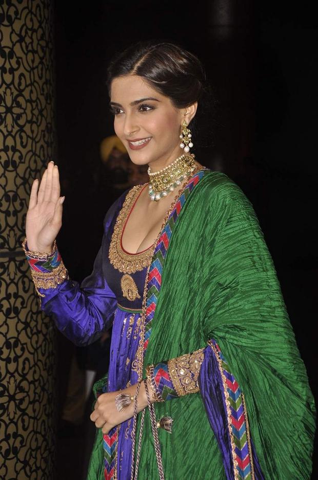 Actress Sonam Kapoor Latest Hot Blue Dress Spicy Photos Gallery