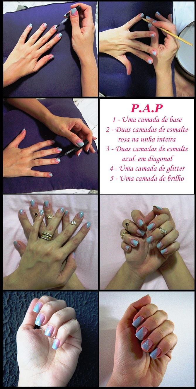 modama unhas esmaltes rosa azul bebê glitter pap passo-a-passo tutorial nail art