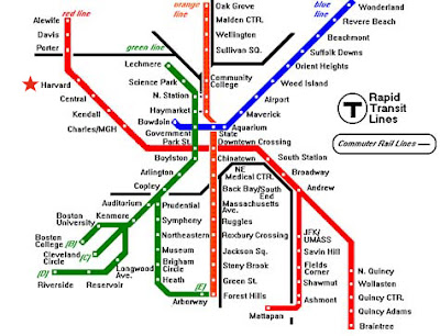 Boston T Map of Metro System