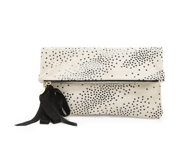 Clare Vivier Star Print Fold Over Clutch With Grosgrain Ribbon Tassel In Creme