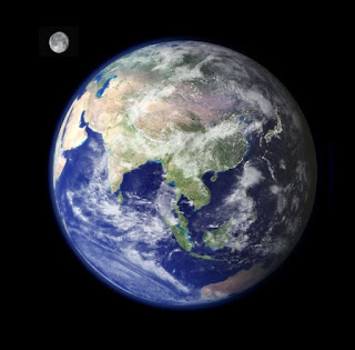 moon and Earth from outer space NASA photo