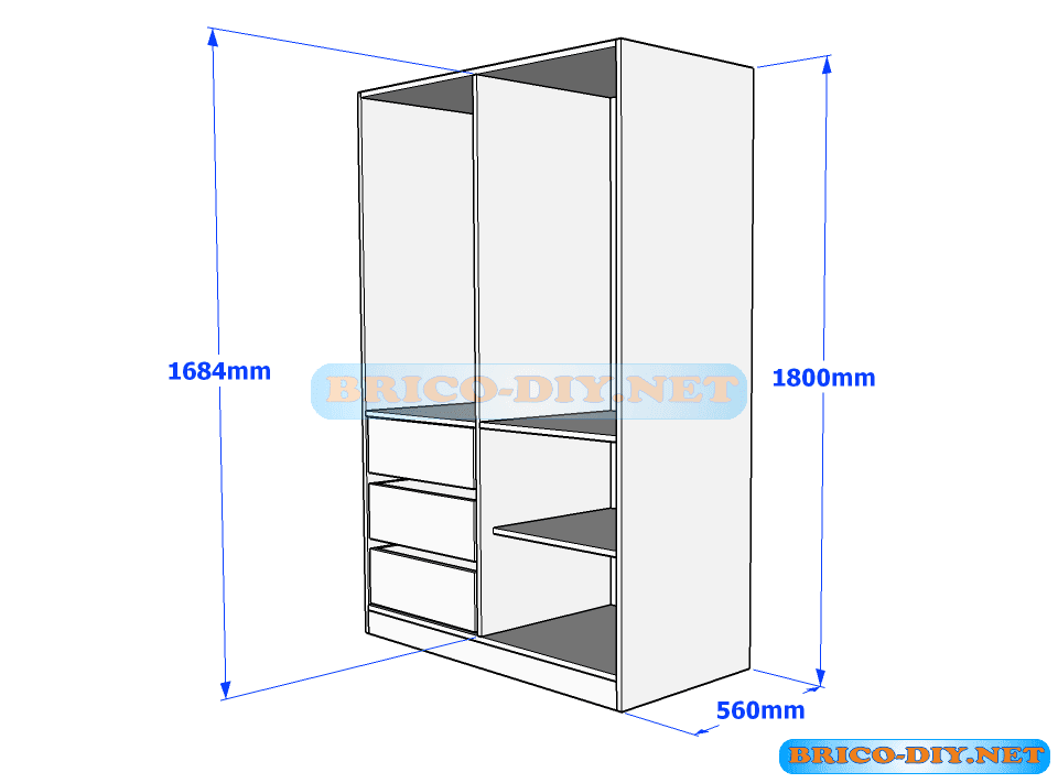 Plano de ropero guardarropa de melamina blanco con gavetas for Como hacer un plano de una cocina