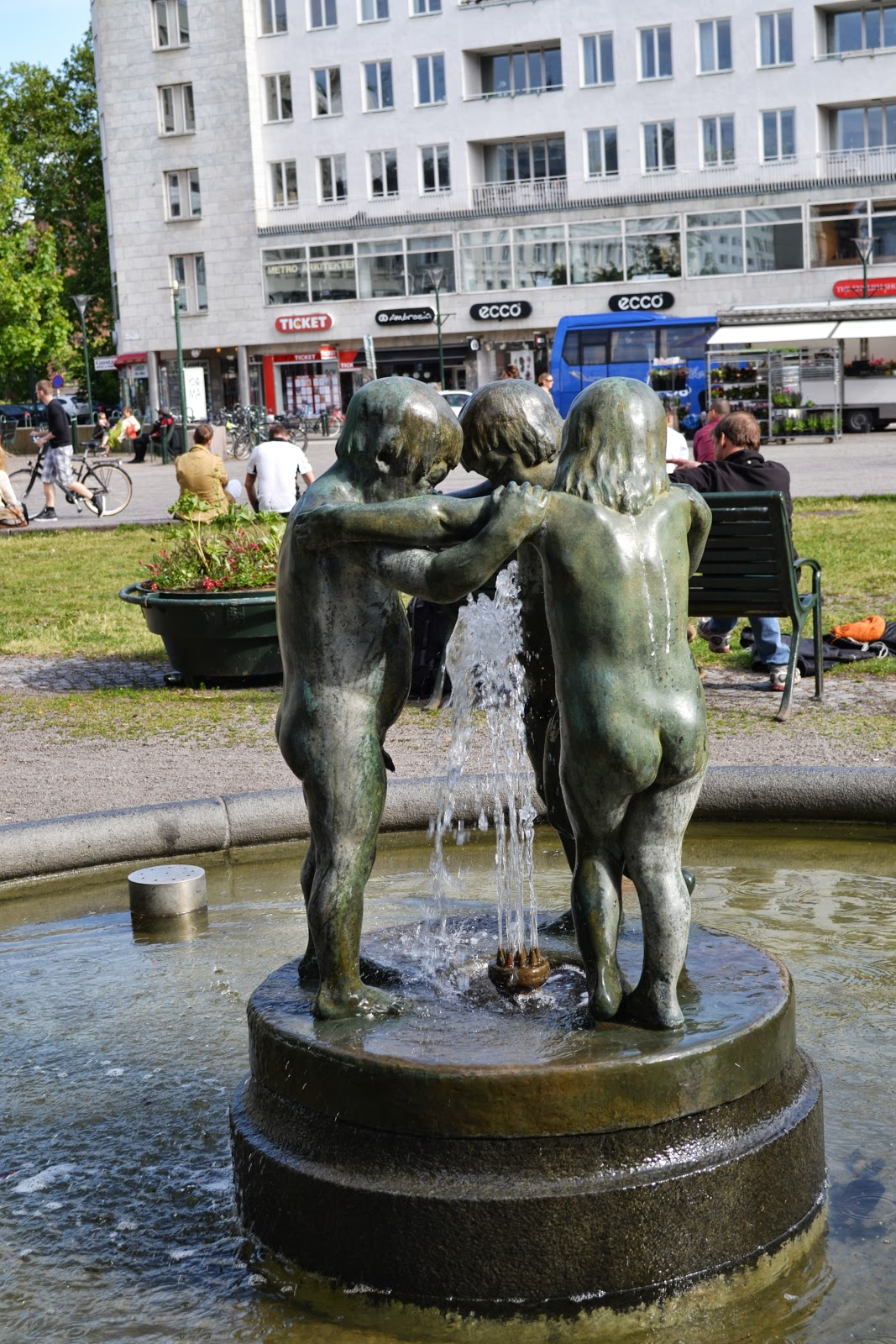Beautiful water fountain and sculpture , malmo