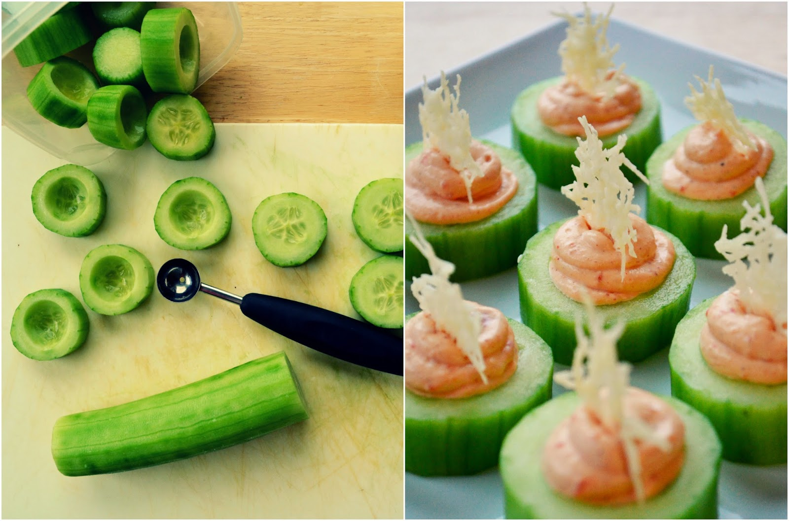 Family feedbag cucumber canap s with 2 cream cheese fillings for Canape with cheese