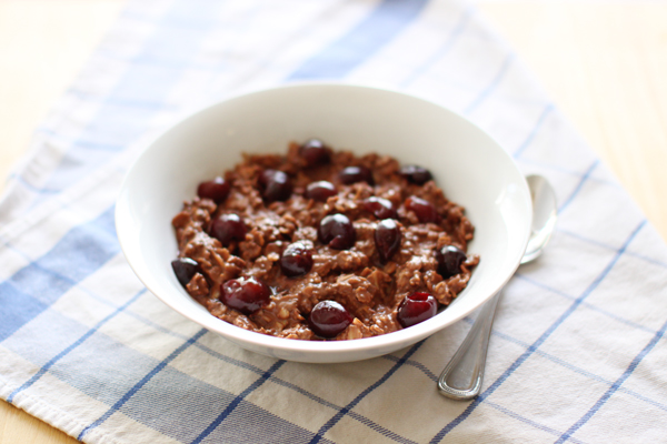 Chocolate-cherry oatmeal with chia seeds