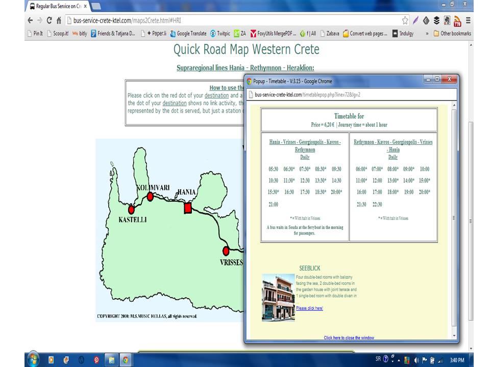 AUTOBUSKI SERVIS NA KRITU;  HANJA- RETIMNO- IRAKLION (HANIA - RETHYMNON - HERAKLION)