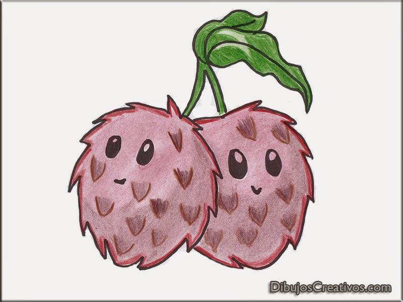 dibujos coloreados LYCHEE BOMB PLANTAS VS ZOMBIES 2