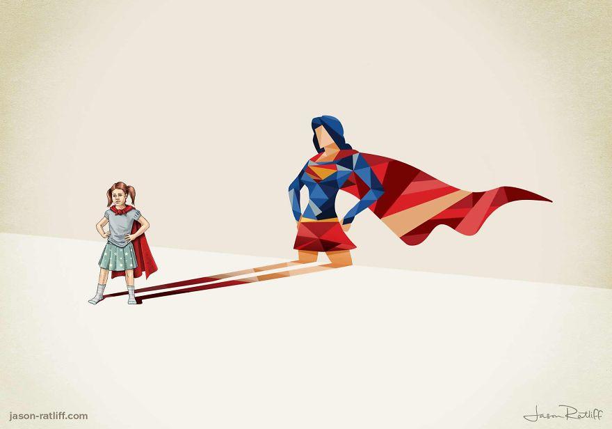 12-Supergirl-Kara-Danvers-Jason-Ratliff-Comic-Book-Heroes-in-Super-Shadows-Illustrations-www-designstack-co
