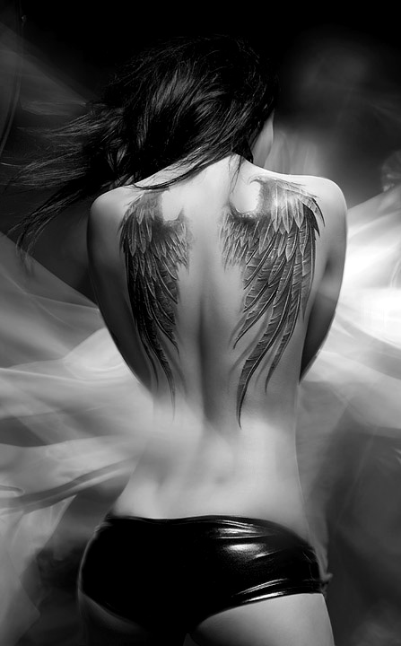 Home back tattoos black and white angel s wing tattoo on back of body