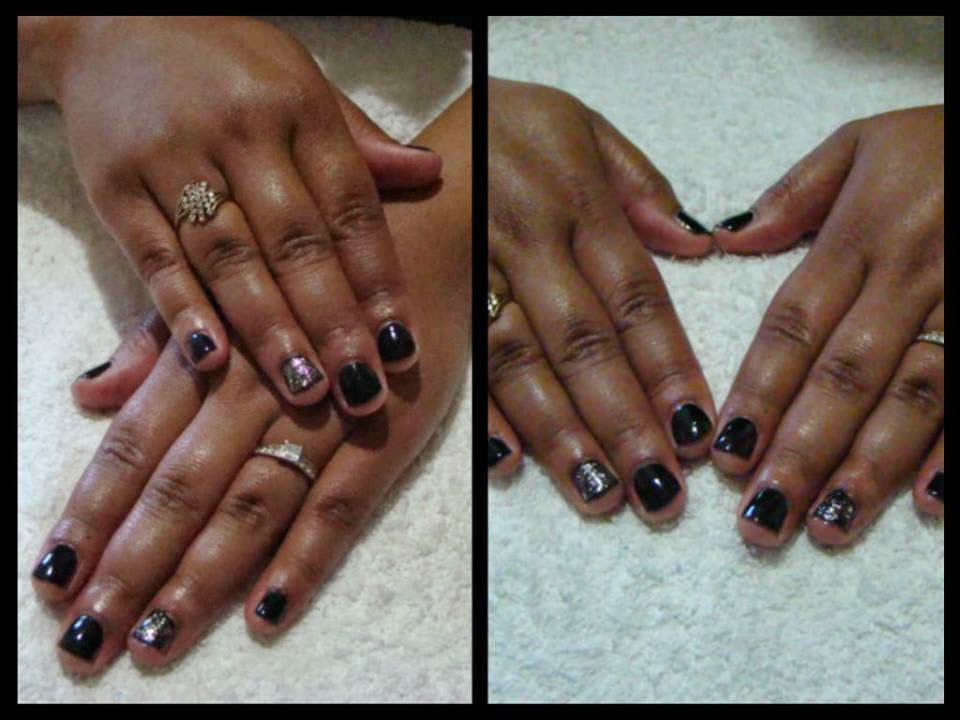 Black-Pool-Shellac-manicure-with-a-gold-over-feat-simple-nail-art