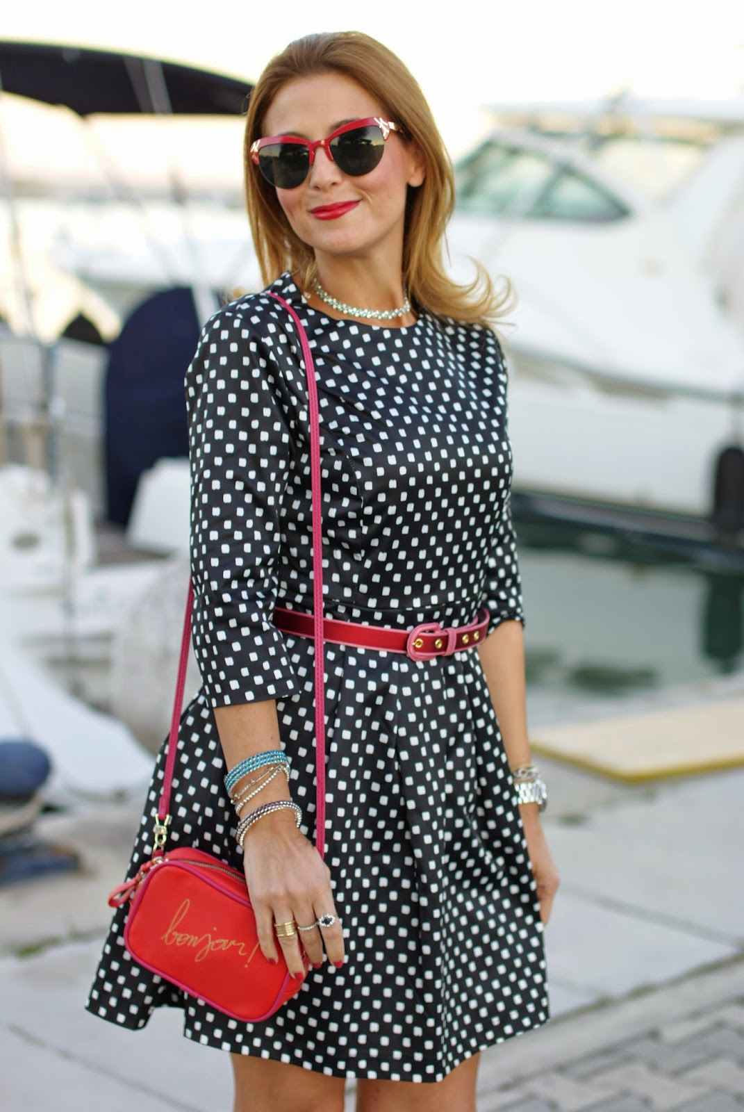 polka dots dress, bonjour bag, Luca Barra collana, Fashion and Cookies, fashion blogger