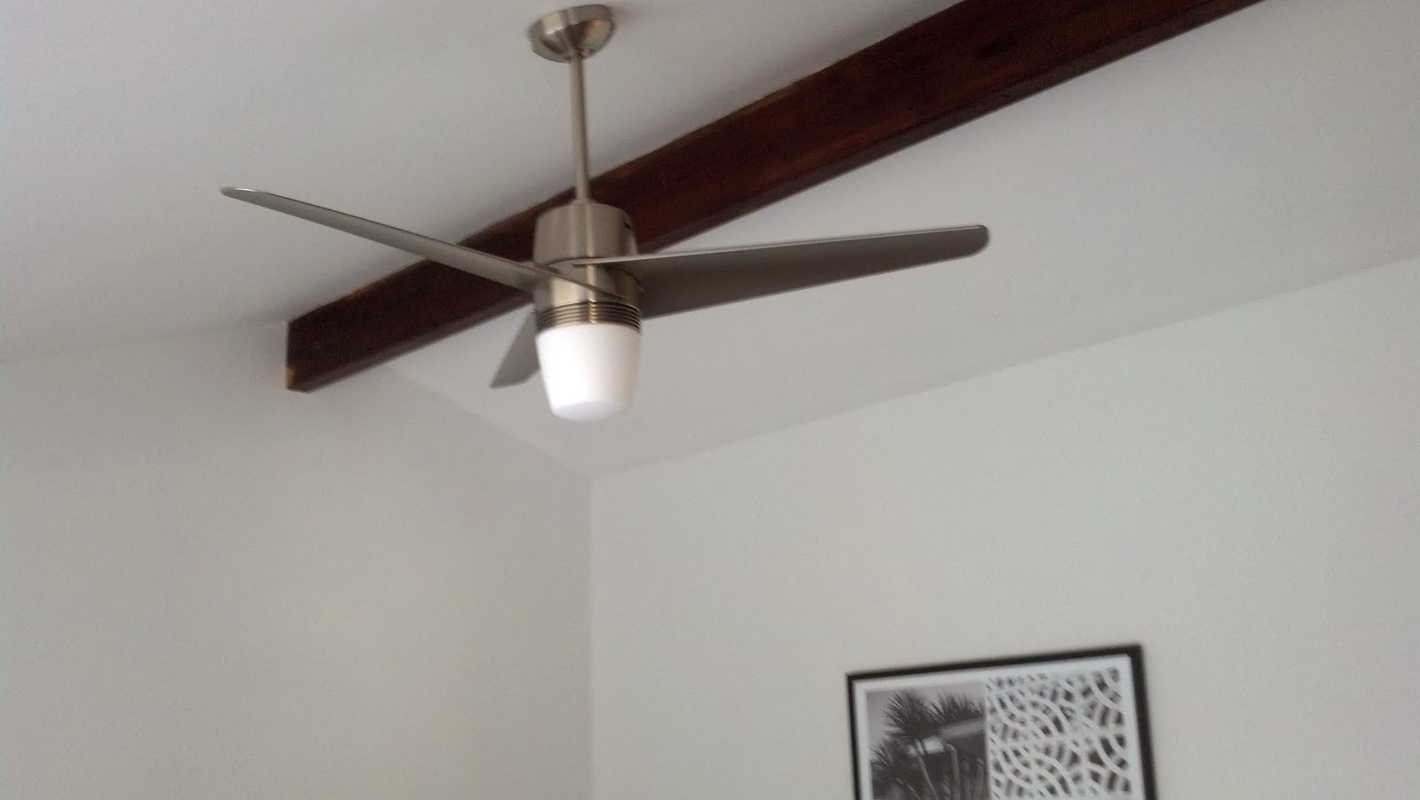 Midmod renovation december 2013 the ceiling fan is modern fan companys velo with the added halogen light in brushed nickel mozeypictures Gallery
