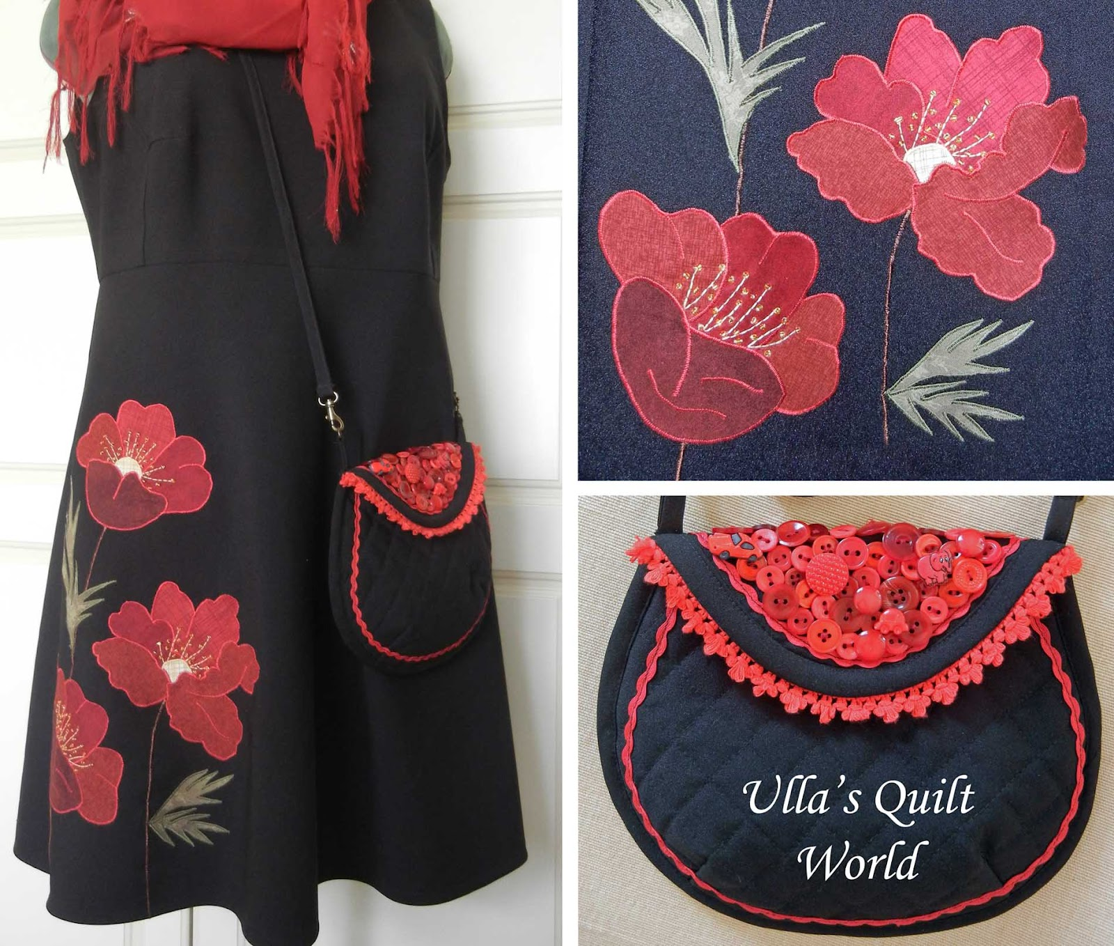 Musta Laukku : Ulla s quilt world bag dress with applique flower