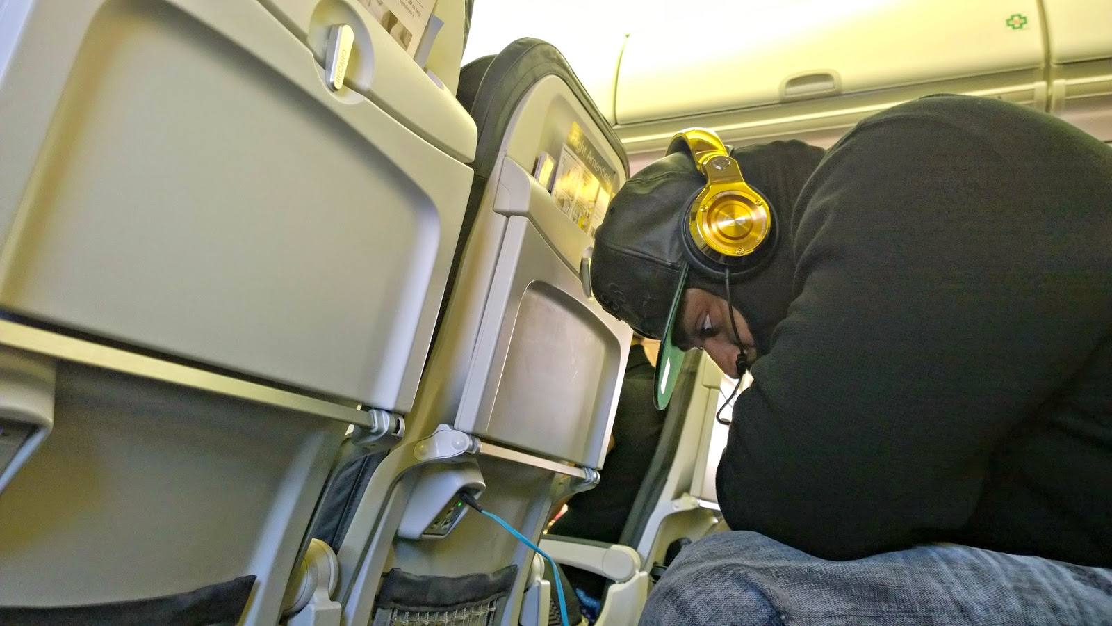 Marshawn Lync on an Alaska Airlines Flight to Vegas