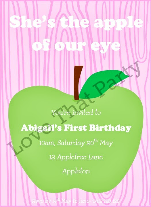 """Apple of our Eye"" Apple Party Printable Invitation by Love That Party. Shop Now at:   http://lovethatparty.bigcartel.com/product/apple-of-our-eye-printable-invitation-digital-file"