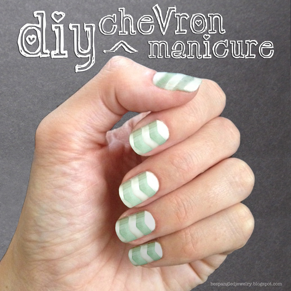 Chevron manicure, mint and white DIY nail art