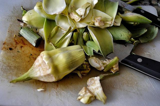 limpar alcachofas