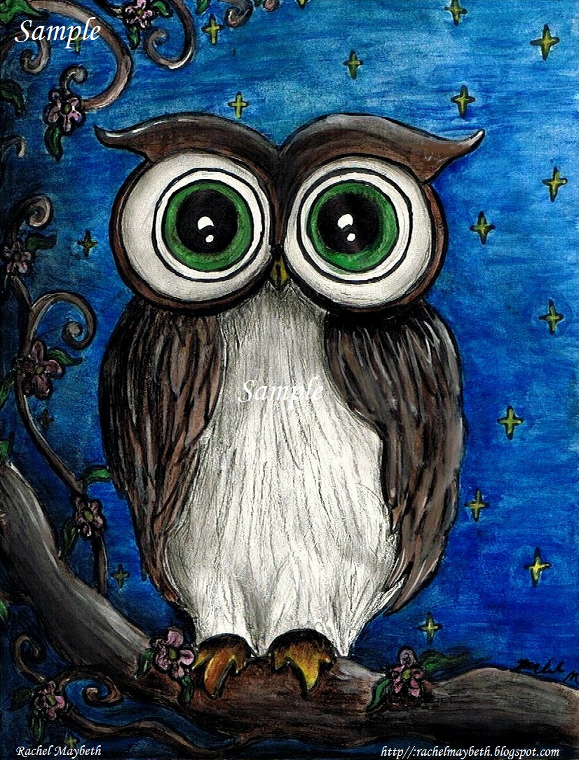 Rachel maybeth night owl painting print and a free for Night owl paint color