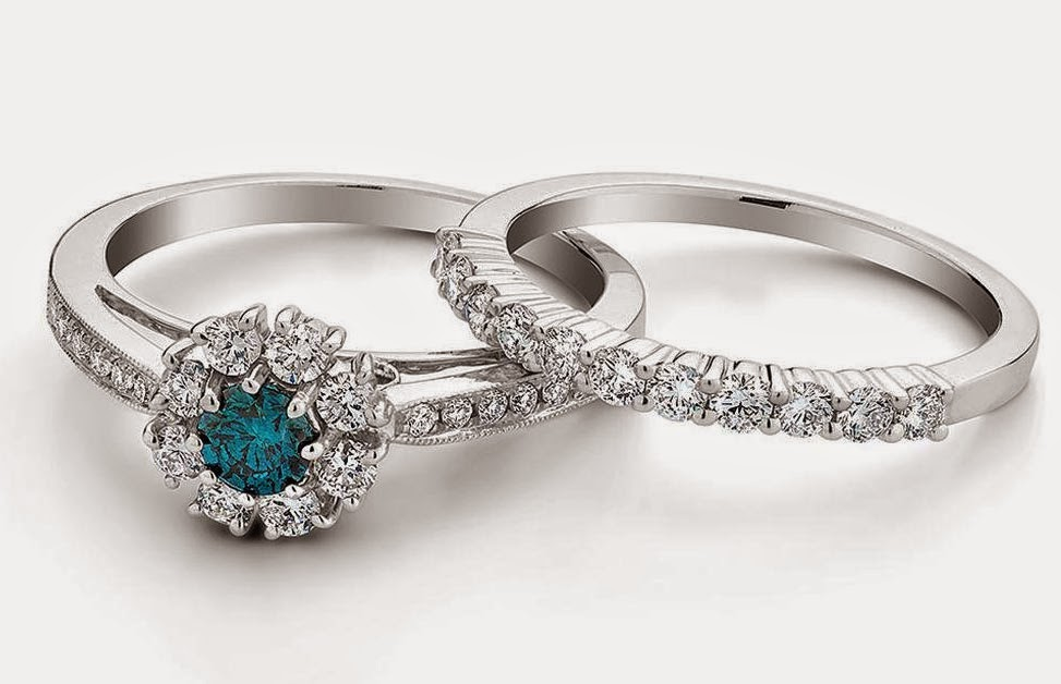 Greenish Blue Diamond Wedding Engagement Ring Sets Silver Design pictures hd