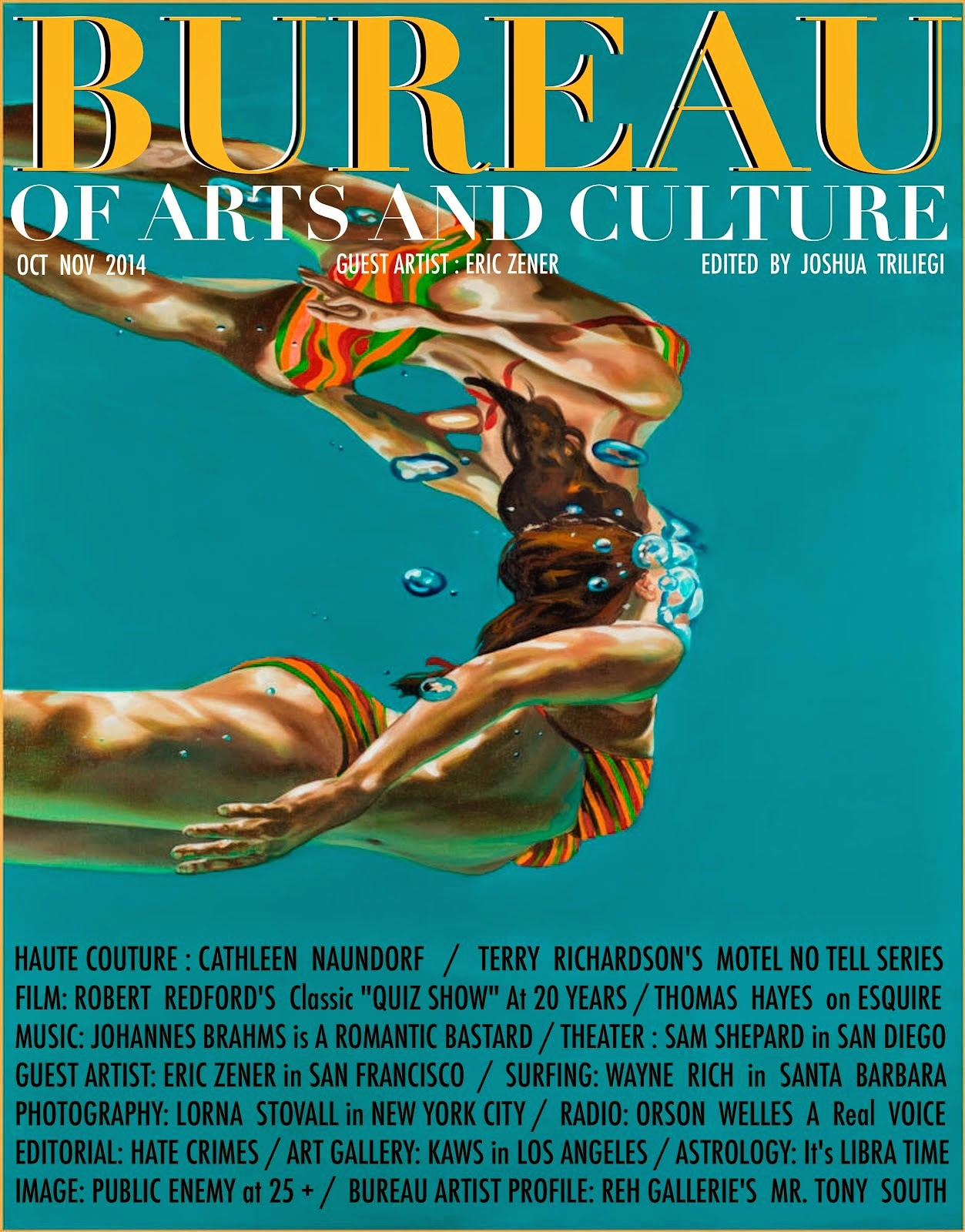 TAP FREE Edition of BUREAU of ARTS and Culture MAGAZINE ERIC ZENER GUEST ARTIST
