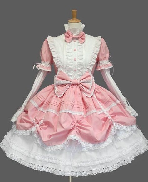 pink and white classic lolita dress