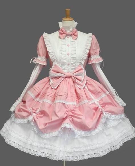 pink and white classic lolita dress
