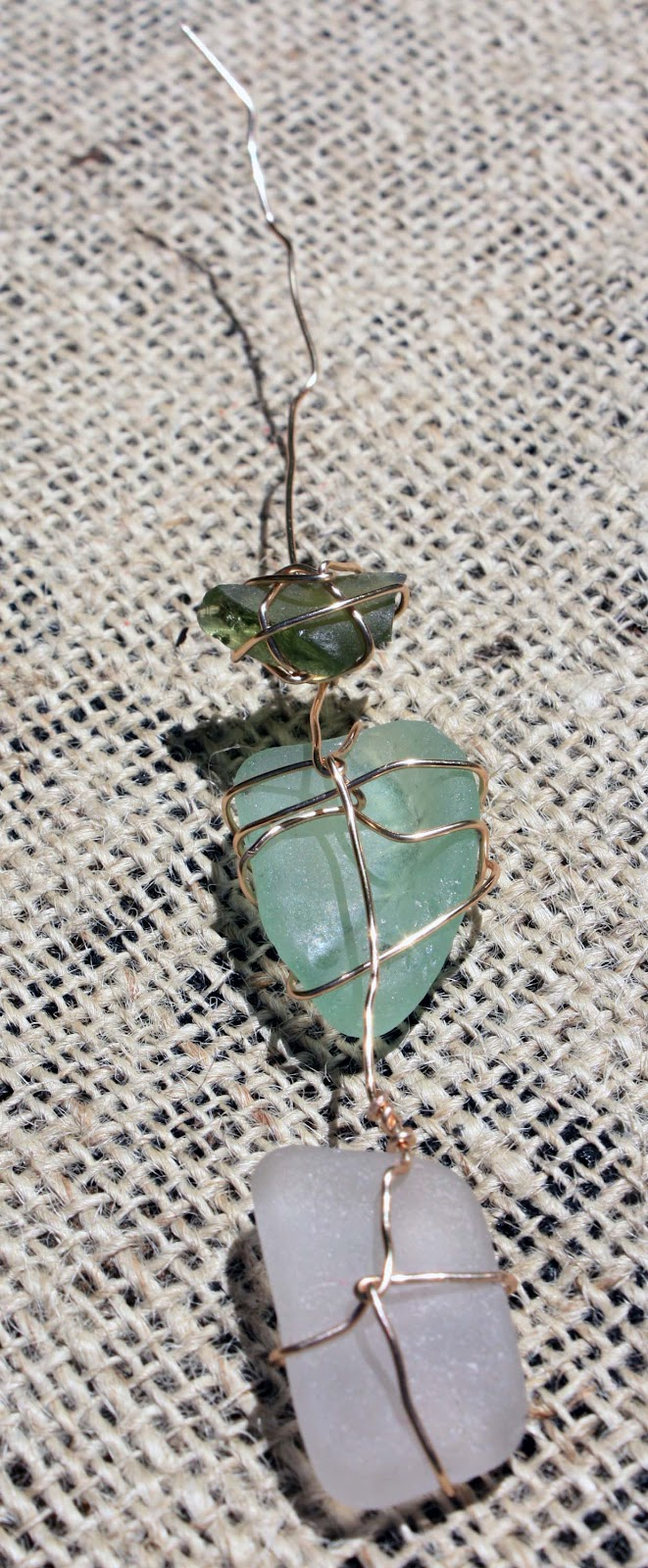 Visibly moved sea glass wall hanging for Attach wire to wall