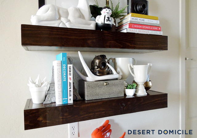 we built a set of chunky wooden floating shelves tutorial can be found
