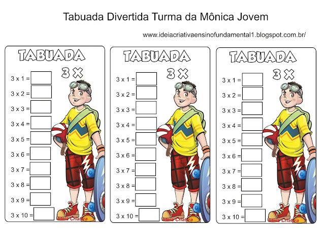 Tabuada Divertida x3 Turma da Mônica Jovem