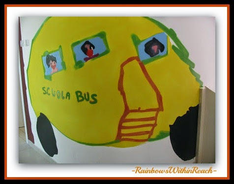 School Bus Mural in Reggio Emilia, Italy from Child's Drawing at RainbowsWithinReach