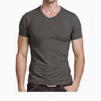 Kaos Pria QuincyLabel Short Sleeve V neck - Dark Grey