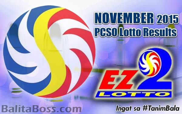 Image: November 2015 EZ2 PCSO Lotto Results