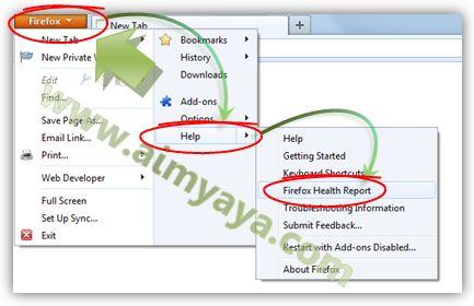 Gambar: Mengakses Firefox Health Report