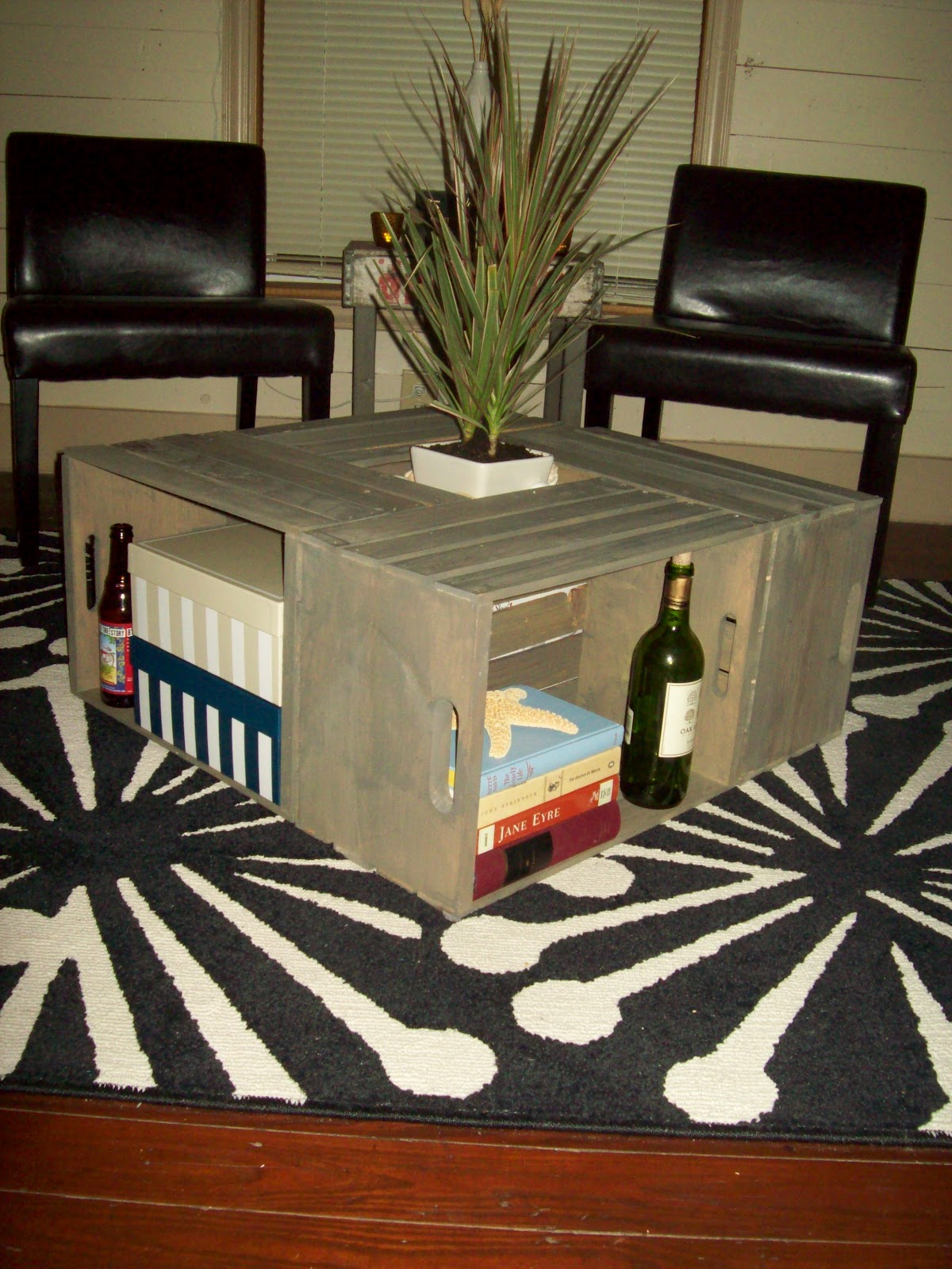 The dapper cowboy diy wine crate coffee table for Vintage wine crate coffee table