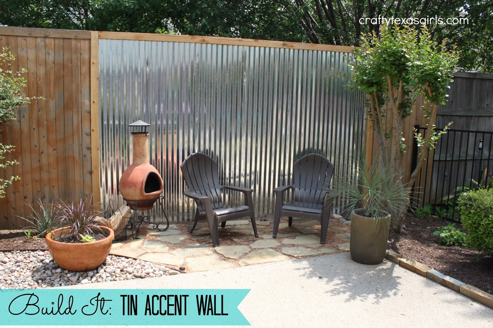 Crafty texas girls build it tin accent wall for Outdoor fence screens