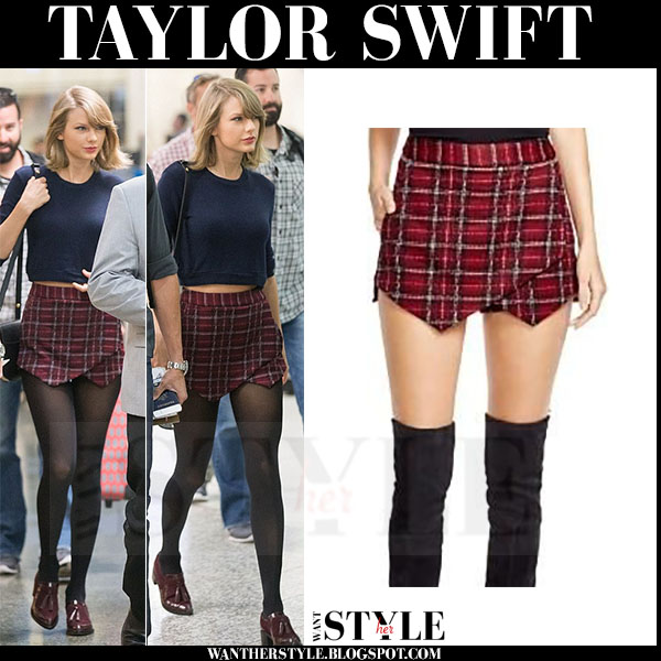 Taylor Swift in red plaid mini skirt and blue sweater what she wore celebrity streetstyle