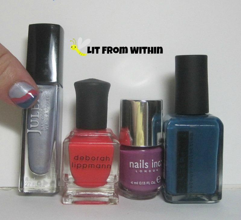 Bottle shot:  Julep Joanna, Deborah Lippmann Girls Just Want To Have Fun, Nails Inc Devonshire Row, and Ginger + Liz Jeggings.