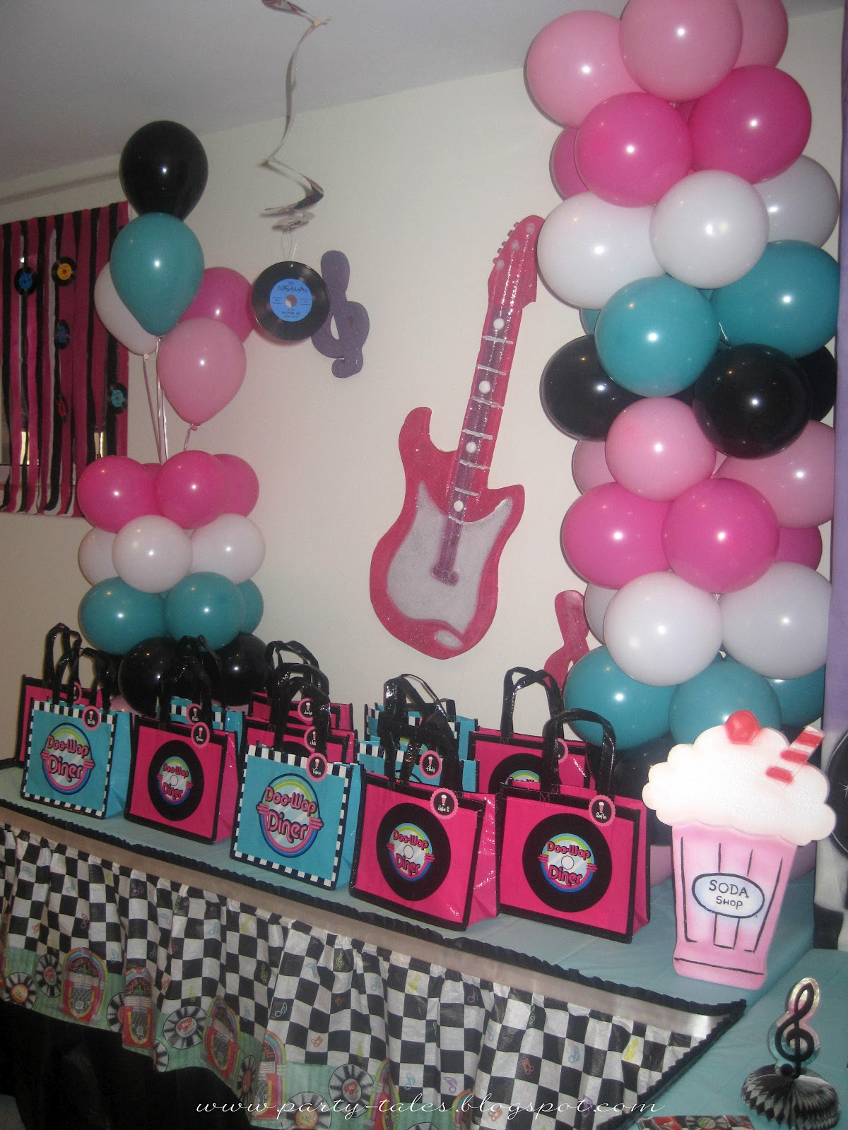 Party tales birthday party 50 39 s diner sock hop party for 50s party decoration