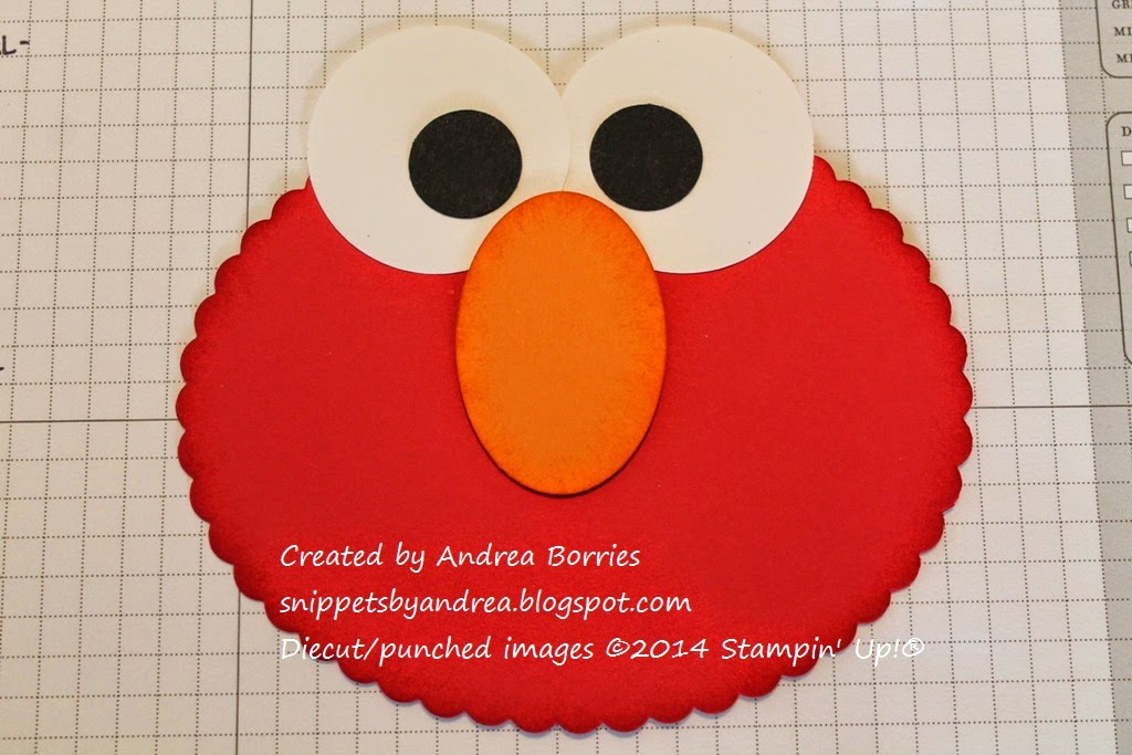 Elmo's nose added to the card base.